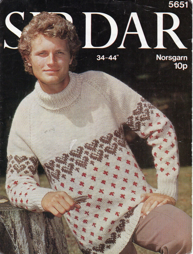 89ec898672c Vintage mens fair isle sweater knitting pattern pdf mens