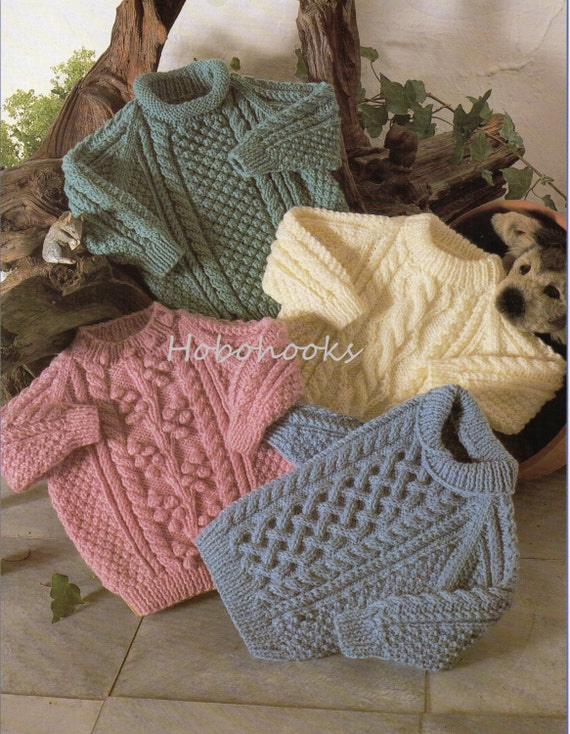 5e4d46f5a Baby   childs   childrens aran sweaters in 4 styles 18 to 28