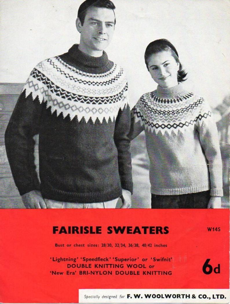2912e0894 Vintage womens mens fair isle sweater knitting pattern pdf