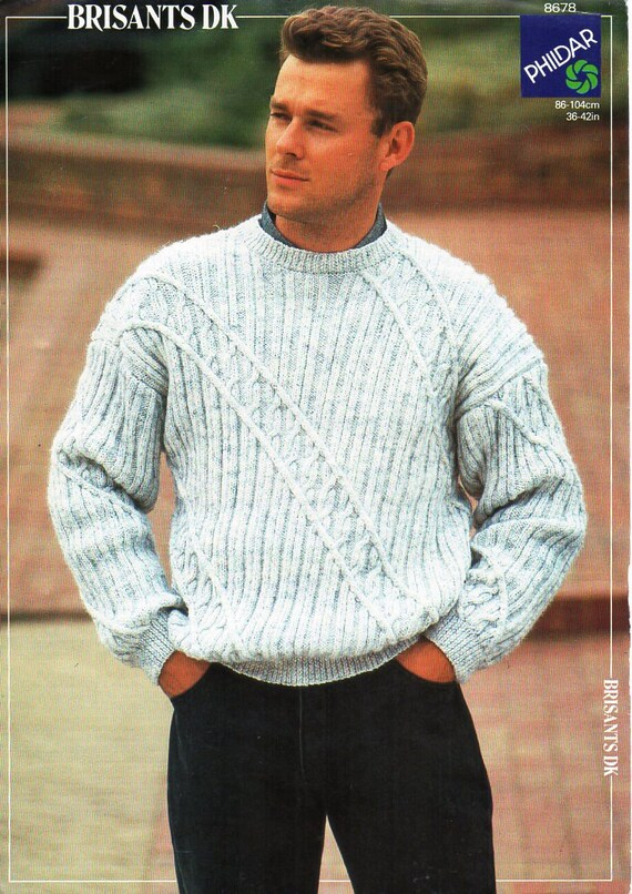 Mens Sweater Knitting Pattern Pdf Mens Crew Neck Jumper Round Etsy
