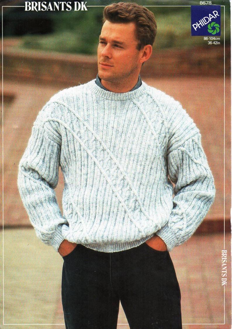 84d89ddd63d2f Mens sweater knitting pattern PDF mens crew neck jumper round