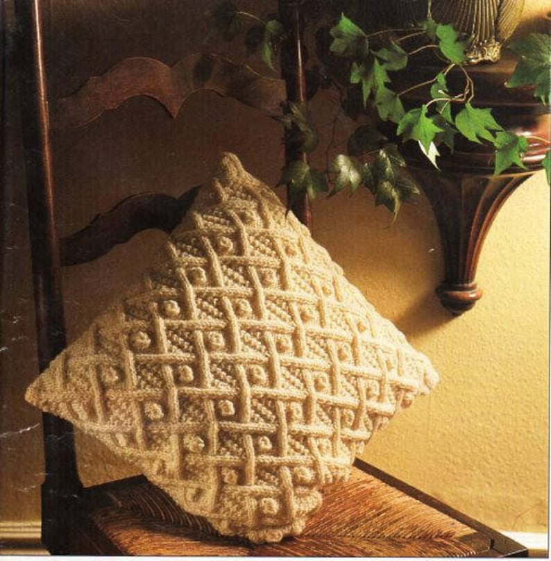 Aran Cushion Knitting Pattern Pdf Trellis Cable Cushion Cover Etsy