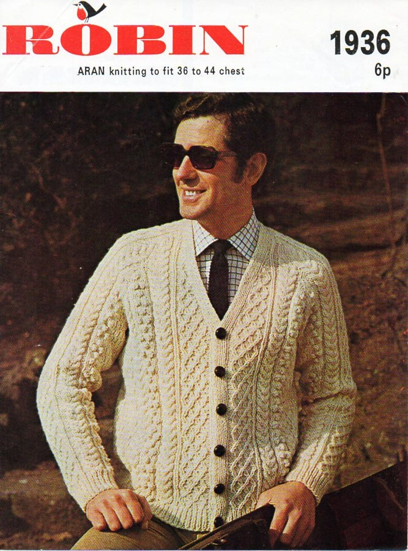 c179fb36c Vintage mens aran cardigan knitting pattern PDF mens aran
