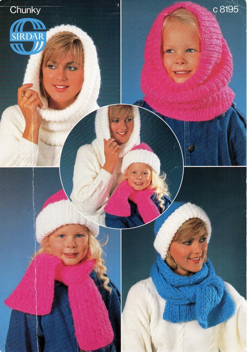 98cd16fd3da Womens hat snood scarf knitting pattern pdf cap hood ribbed