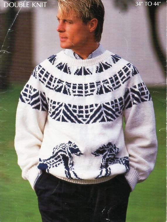 8c251d52fd3f8 mens fair isle sweater knitting pattern PDF mans fairisle jumper lion motif  34-44 inch DK light worsted 8ply Instant download