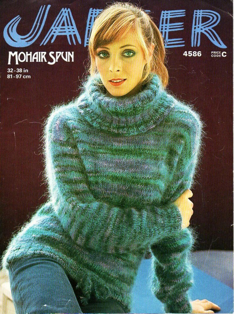 Womens mohair polo neck sweater knitting pattern pdf download  ffd2807a0