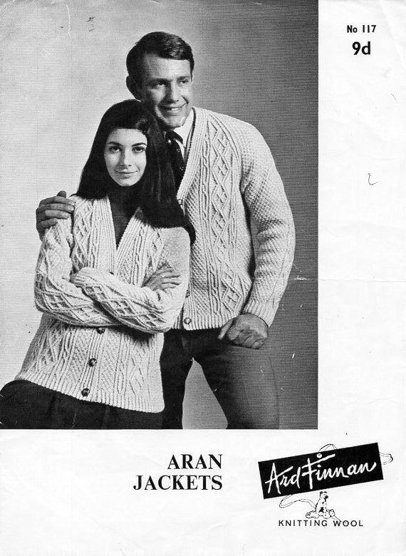 e48c1d22a Womens Mens Aran Cardigan Knitting Pattern PDF ladies cable