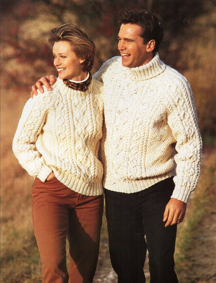 40198e0e96fa52 womens mens aran sweater unisex knitting pattern pdf download ladies cable  crew  polo neck jumper 32-44