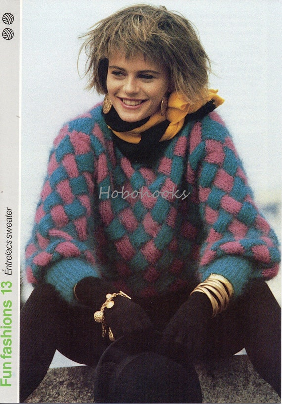 Ladies Knitting Pattern Mohair Entrelac Sweater 81 To 96 Cm Etsy