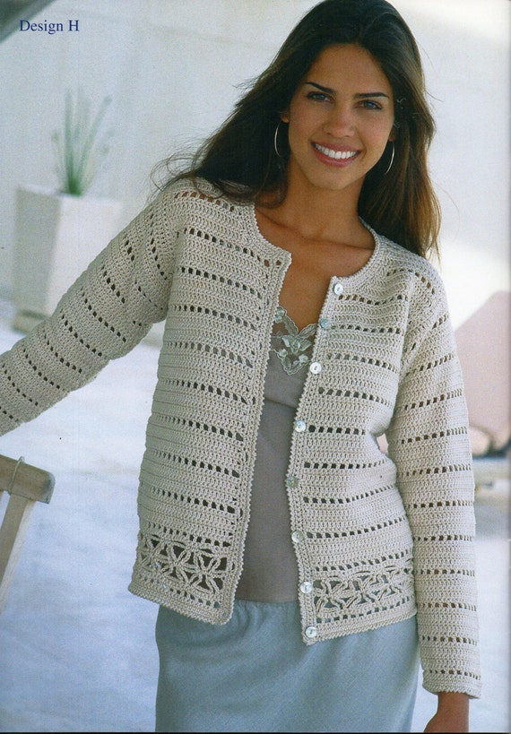 Womens Crochet Cardigan Crochet Pattern Lacy Crochet Jacket V Etsy