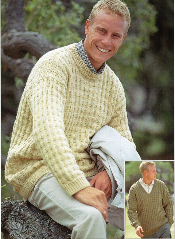 Mens Knitting pattern Mens Sweaters Mens Jumpers Patterned Round Neck V  Neck 38-48 inch DK Mens Knitting Patterns PDF Instant Download