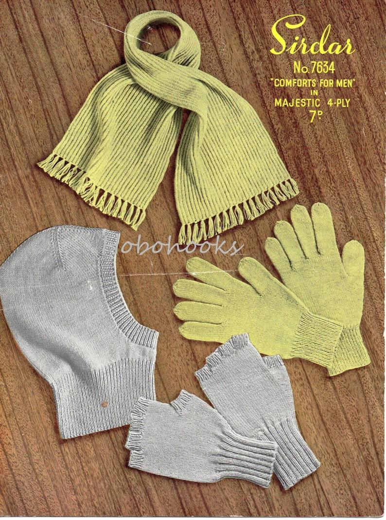 Vintage Mens Balaclava Gloves Scarf Knitting Pattern Pdf Etsy