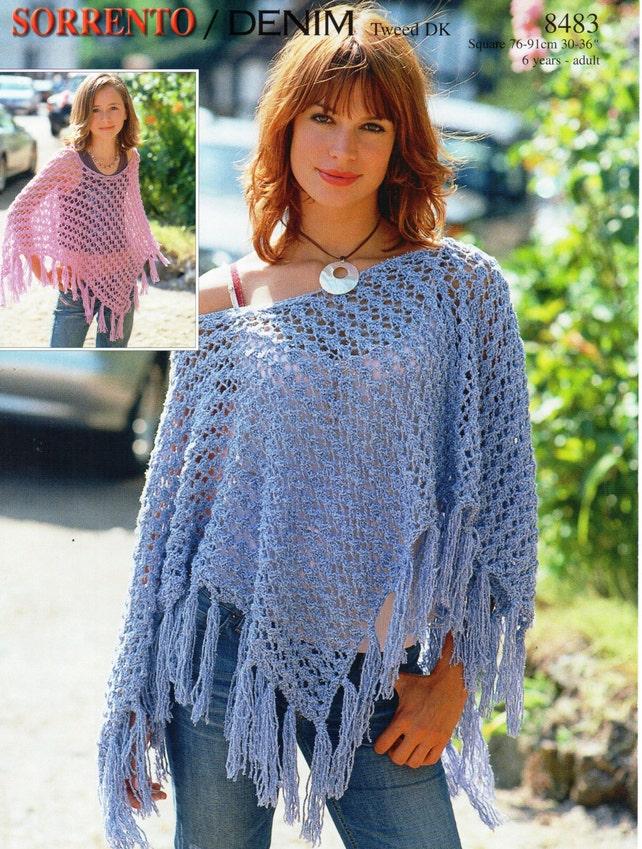 Womens Poncho knitting pattern pdf download Girls Poncho   Etsy