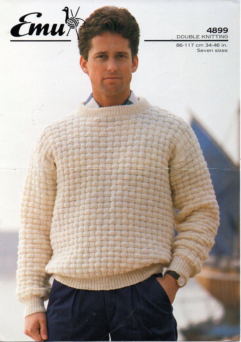 Mens Sweater Knitting Pattern Pdf Dk Mens Patterned Round Neck