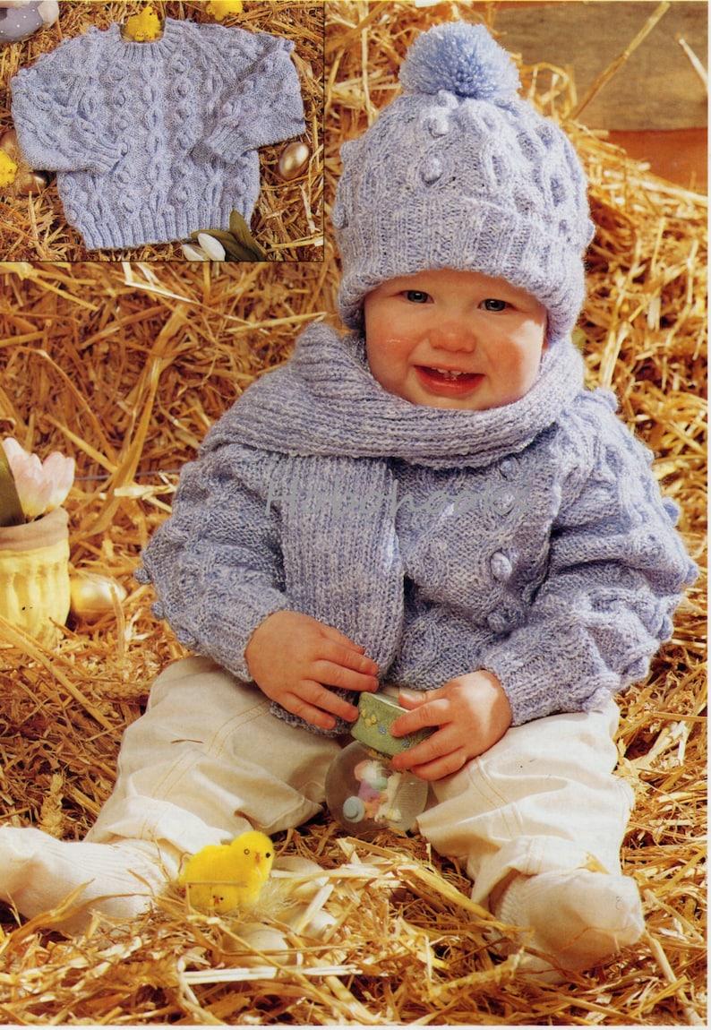 b5c28ffd17ab Baby aran sweater hat scarf set knitting pattern pdf cable