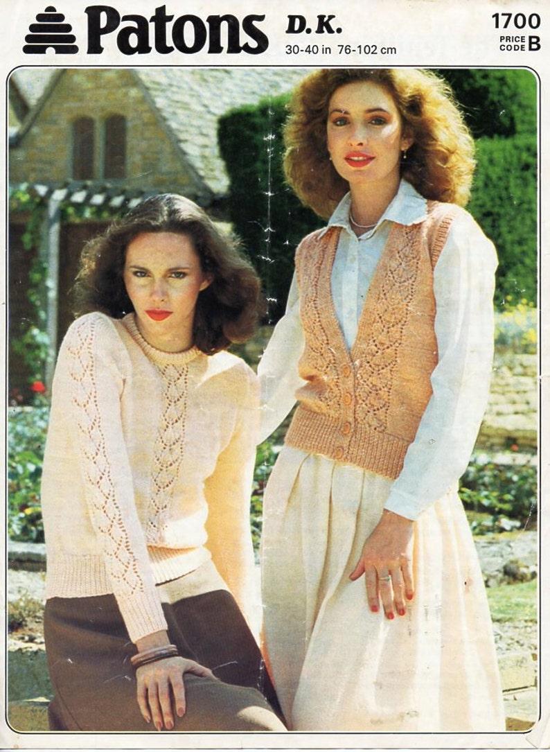 7ce98462890a69 Vintage womens DK sweater waistcoat knitting pattern pdf
