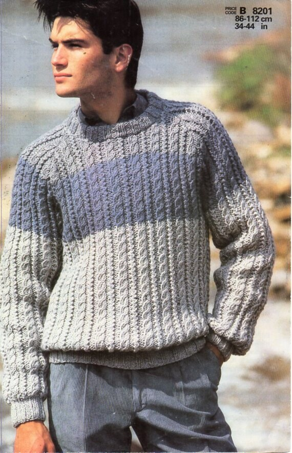 Mens Knitting Pattern Pdf Mens Chunky Cable Sweater Mens Crew Etsy