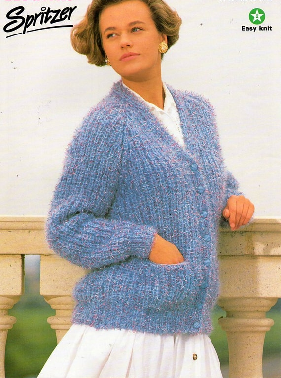 378308fbff66 ladies chunky fishermans rib cardigan knitting pattern PDF