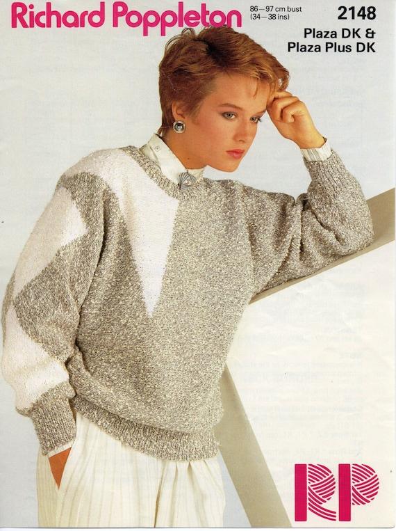 womens sweater knitting pattern geometric sweater dolman | Etsy