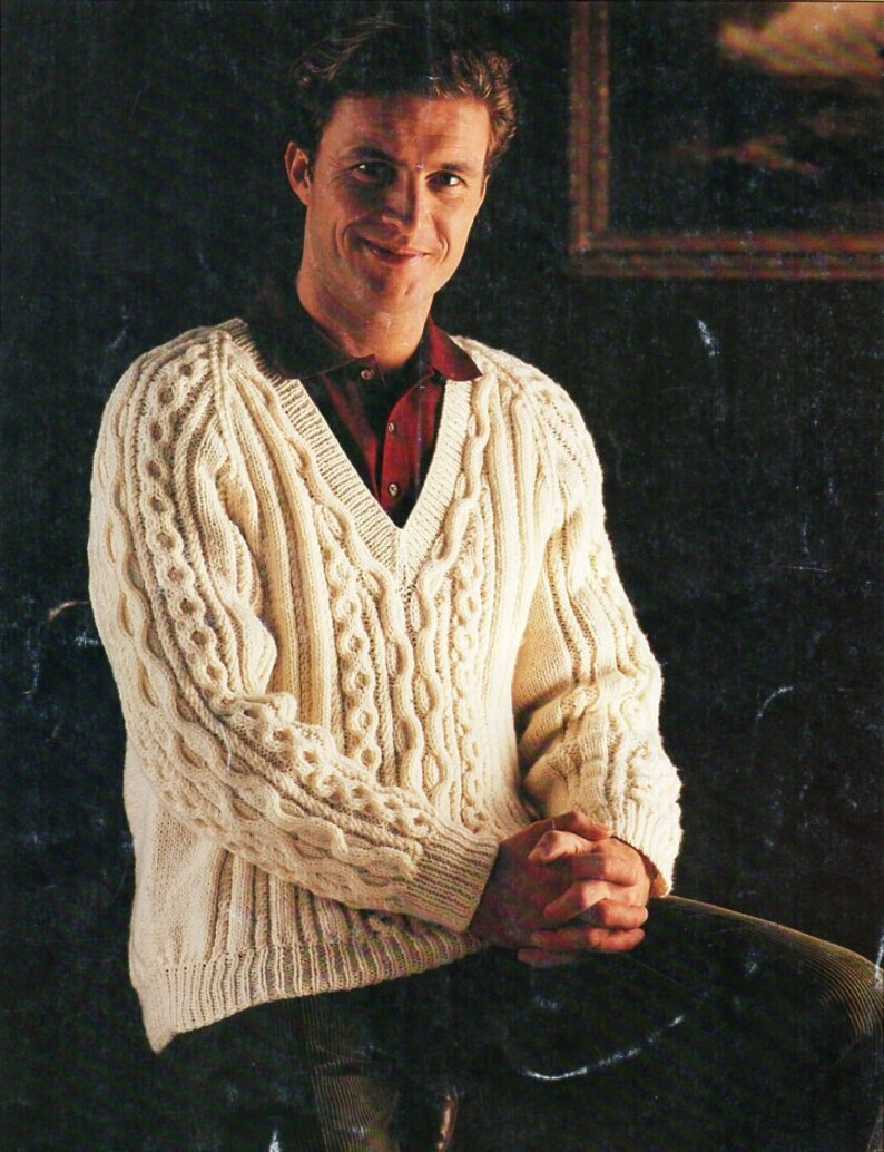 9b2dde99cfb7f mens aran sweater knitting pattern pdf mens cable v neck jumper 36-46