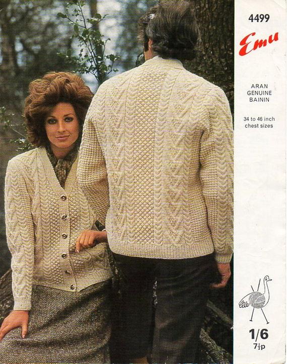 "Aran Knitting Pattern Ladies Mens Cardigan Size 30//48/"" Chest"