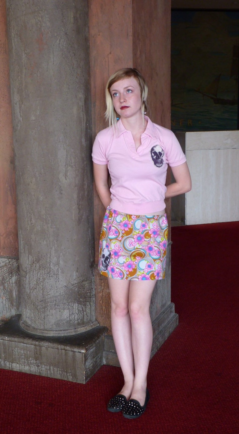 Vintage Pink polo with skull patch
