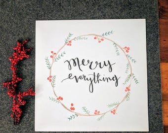 Merry Everything Holiday Wreath Watercolor