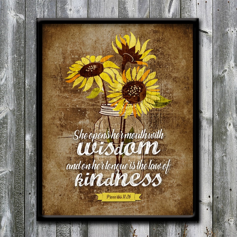 Proverbs 31:26 law of kindness Bible verse Sunflowers | Etsy