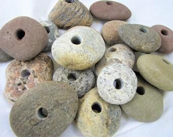 River Rock Jewelry Stone Center Drilled Beach Stones for Jewelry Woodland Beach Stone Center Hole Bead Sundae Round Center Hole Bead