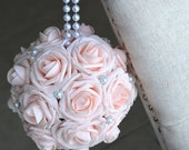 PINK BLUSH Flower Ball with Brooch PEARL handle. Kissing Ball. Church Pews Decor. Flower Girl. Bridesmaid Bouquet. Choose Color.