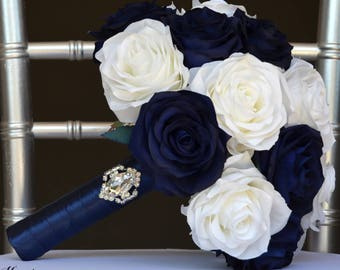 Navy blue bouquet | Etsy