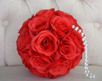 "RED Silk Flower Ball with Pearl Handle Pomander Kissing Ball Wedding Centerpiece Flower Girl Bouquet Bridal Shower 7"" 8"" 10"" 12"" 14"" 16"""