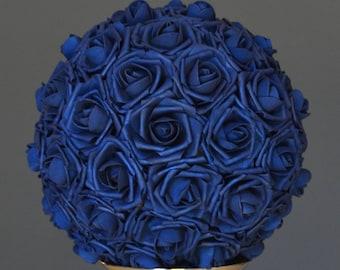 NAVY BLUE Flower Ball. Wedding CENTERPIECE. Navy Blue Wedding. Pomander. Kissing Ball. Flower Girl. Bridesmaid Bouquet.