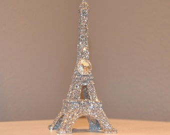 Eiffel tower etsy glitter eiffel tower cake topper with bling gem brooch paris wedding decor french inspired junglespirit Image collections