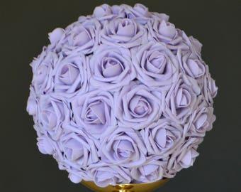 LILAC kissing ball. Lilac WEDDING CENTERPIECE, Lilac flower ball, Lilac pomander, Lilac flower girl bouquet, Wedding Decor.