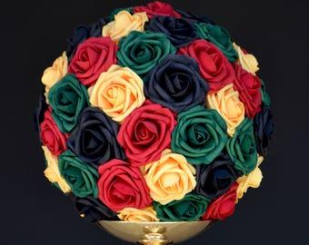 REGGAE Kissing Ball, WEDDING CENTERPIECE, Pomander, Kissing Ball, Jamaican Party Decor, Reggae Party Decor