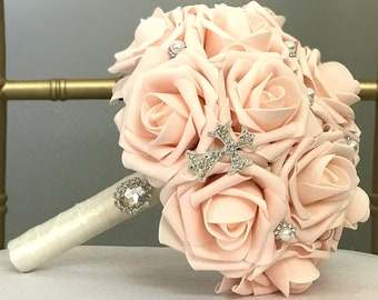 9ee80dc10 PEACH Blush Bouquet With Glamorous Rhinestone CROSS. Holy COMMUNION. Peach  Blush Bouquet. Peach Blush Wedding. Pick Rose   Ribbon Color