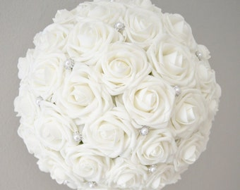 """WHITE Flower Ball with Brooch Premium Real Touch Roses WEDDING CENTERPIECE wedding pomander kissing ball 6"""" 8"""" 10"""" 12"""" 14"""" 16"""""""