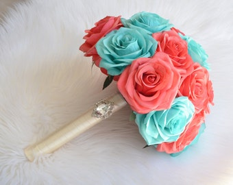 Coral beach bouquet etsy turquoise coral bridal bouquet real touch silk roses brooch bouquet choose your ribbon color custom made to order mightylinksfo