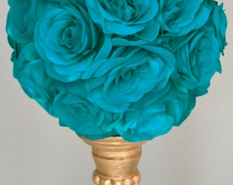 36b9dcafbf1 TEAL Flower Ball. Kissing Ball. Pomander. Premium Soft Silk Roses. Wedding  Decor. Flower Girl. Wedding Centerpiece.