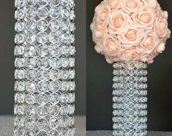 RHINESTONE Candle Holder VASE Silver Bling Centerpiece Stand Flower Ball Wedding