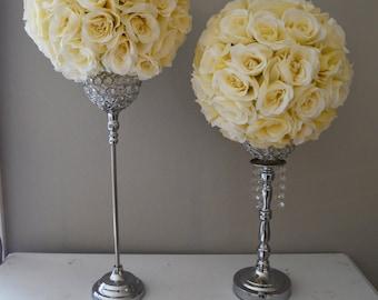 14 Ivory Cream Elegant Wedding Silk Flower Ball Wedding Etsy