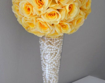 Yellow bouquet etsy yellow flower ball yellow kissing ball yellow pomander yellow wedding centerpiece flower girl wedding decor premium soft silk roses mightylinksfo