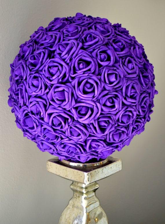 PURPLE Flower Ball. Wedding Centerpiece. Kissing Ball.   Etsy