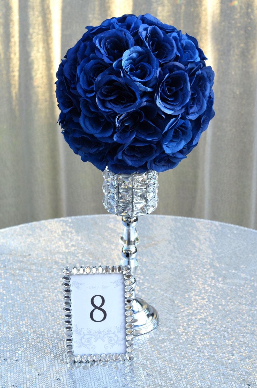 Navy blue flower ball navy blue wedding centerpiece navy etsy zoom izmirmasajfo