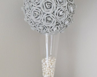 Gray Kissing Ball. Wedding Centerpiece. Grey Flower Ball. Pomander. Wedding Decor. Flower Girl.