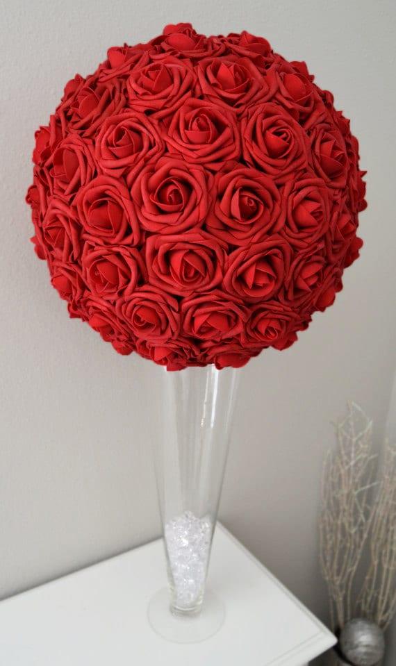 red flower ball wedding centerpiece kissing ball pomander etsy rh etsy com  flower balls for wedding centerpieces uk