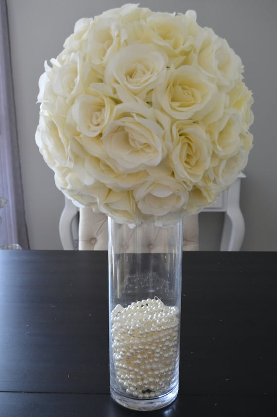 14 Ivory Cream Elegant Wedding Silk Flower Ball Wedding Etsy