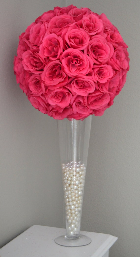 FUCHSIA / HOT PINK Flower Ball Wedding Centerpiece Kissing   Etsy