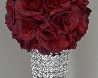 SANGRIA Flower ball, WEDDING CENTERPIECE, wedding pomander kissing ball, flower girl, Premium Soft Silk Roses